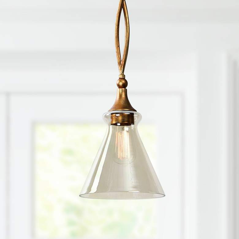 "Uttermost Glam 8"" Wide Antiqued Gold Leaf Mini Pendant"