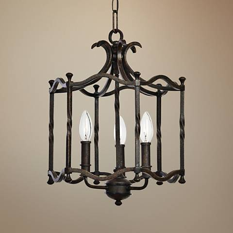"Candela 13 1/2"" Wide Distressed Rust Iron 3-Light Pendant"