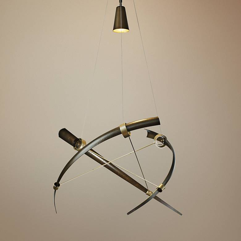 "Hubbardton Forge Crescent 40"" Wide Bronze Pendant Light"