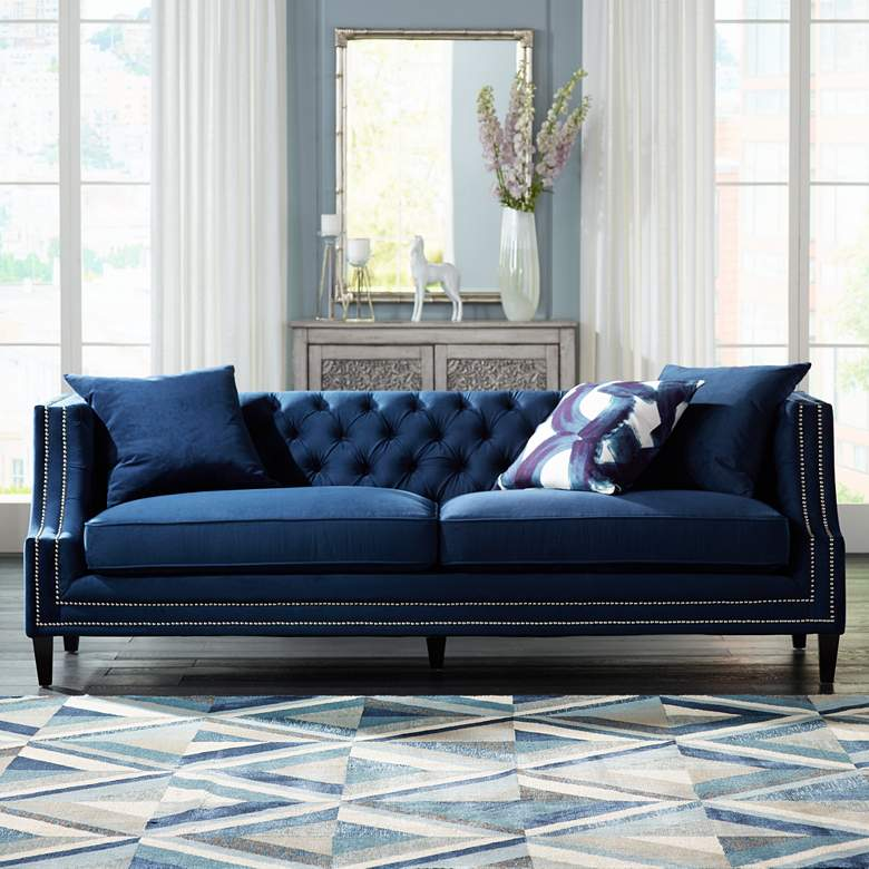 "Marilyn 93"" Wide Blue Velvet Tufted Upholstered Sofa"