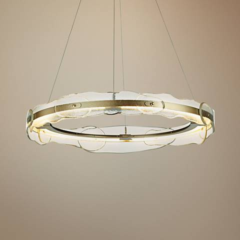 "Solstice 35 3/4"" Wide Soft Gold and Glass LED Pendant Light"