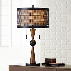Wood rustic lodge table lamps lamps plus hunter contemporary table lamp by franklin iron works mozeypictures Images