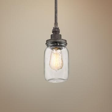 "Quoizel Squire 4 1/4"" Wide Rustic Black Mini Pendant"