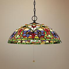 Multi color glass pendant lighting lamps plus quoizel violets 20 aloadofball Images