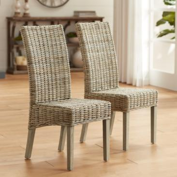 Lyra Reef Natural Kubu Gray Side Chair Set of 2