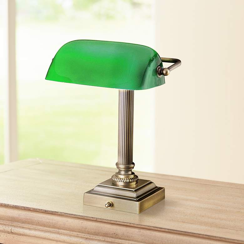 Hightower Antique Brass Banker Desk Lamp by House