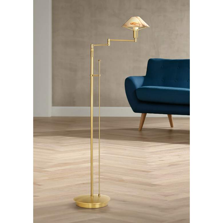 Holtkoetter Alabaster Shade Adjustable Swing Arm Floor Lamp