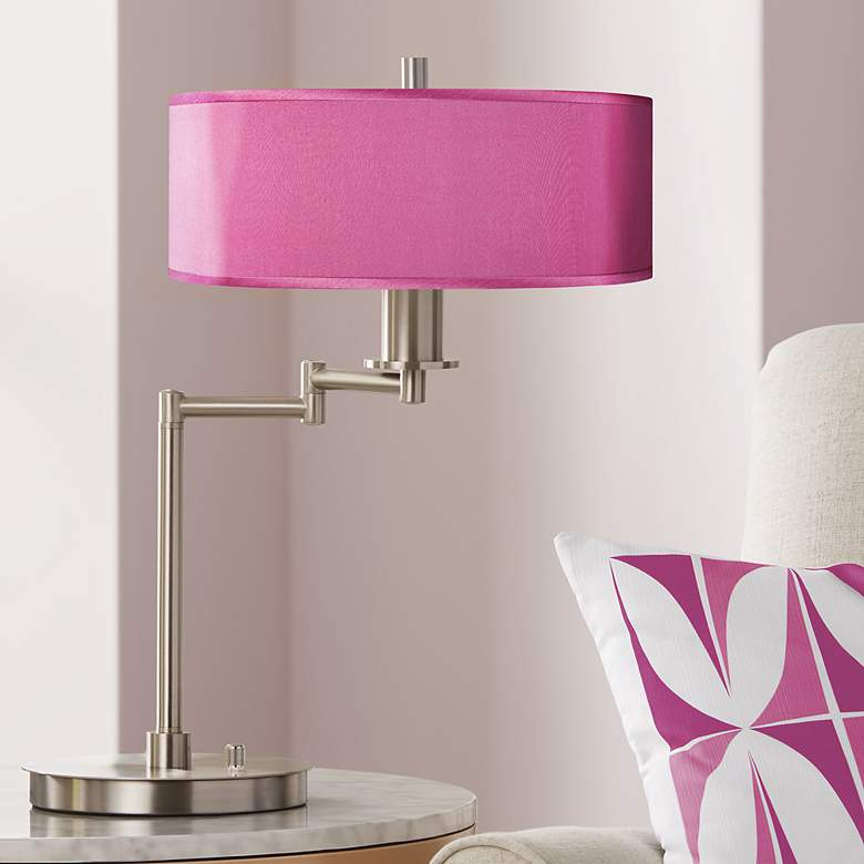 Pink Orchid Faux Silk CFL Swing Arm Desk Lamp