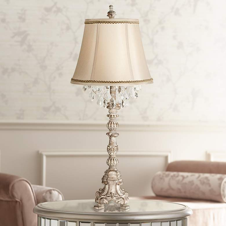 Duval French Crystal Table Lamp with Brown and