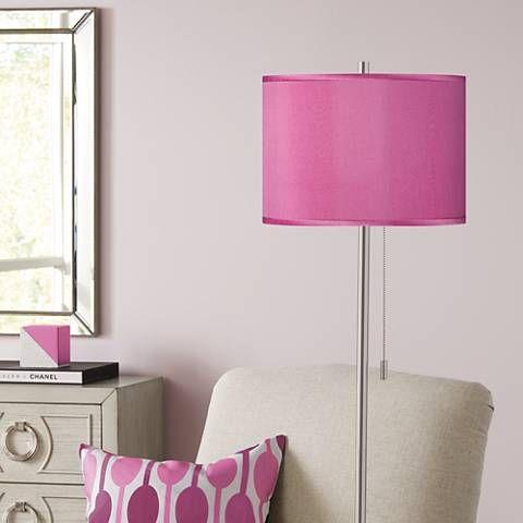 Pink Orchid Faux Silk Brushed Nickel Pull Chain Floor Lamp