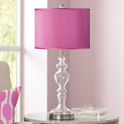 Pink Orchid Faux Silk Apothecary Clear Glass Table Lamp