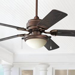 "52"" Marina Breeze Oil Brushed Bronze Wet LED Ceiling Fan"