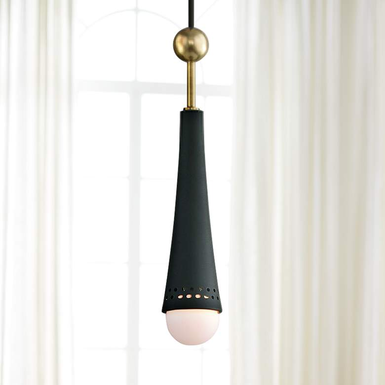 "Tupelo 2 1/2"" Wide Aged Brass and Black LED Mini Pendant"