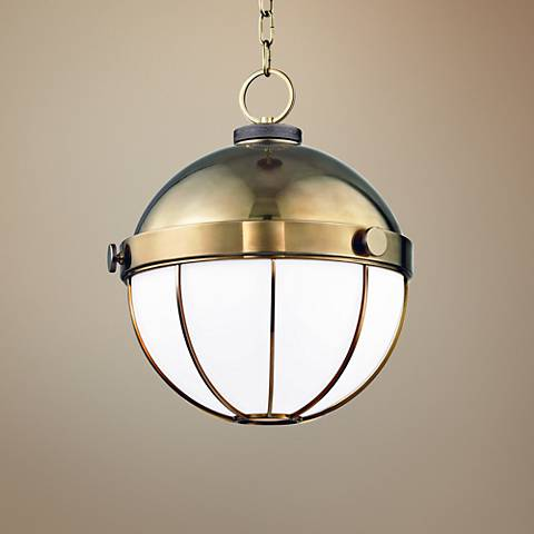 "Hudson Valley Sumner 14"" Wide Aged Brass Pendant Light"