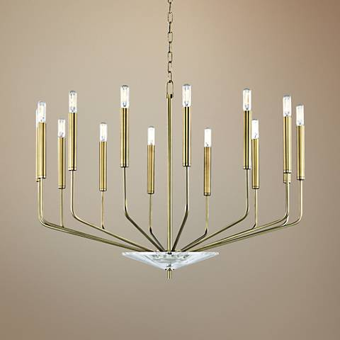 "Hudson Valley Gideon 33 1/4""W Aged Brass 14-Light Chandelier"
