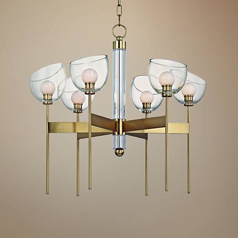 "Hudson Valley Davis 26 1/2"" Wide Aged Brass 6-LED Chandelier"