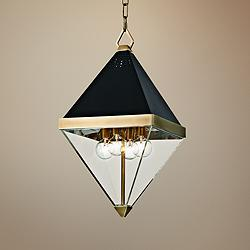 "Coltrane 10"" Wide Aged Brass and Black 4-Light Mini Pendant"
