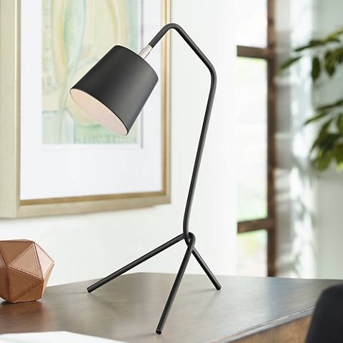 Lite Source Quana Black Metal Tripod Desk Lamp