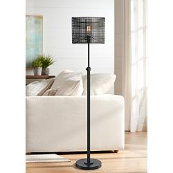 Lite Source Hamilton Black Metal Grid 1-Light Floor Lamp