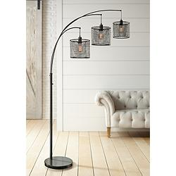 Lite Source Hamilton Black Metal Grid 3-Light Arc Floor Lamp