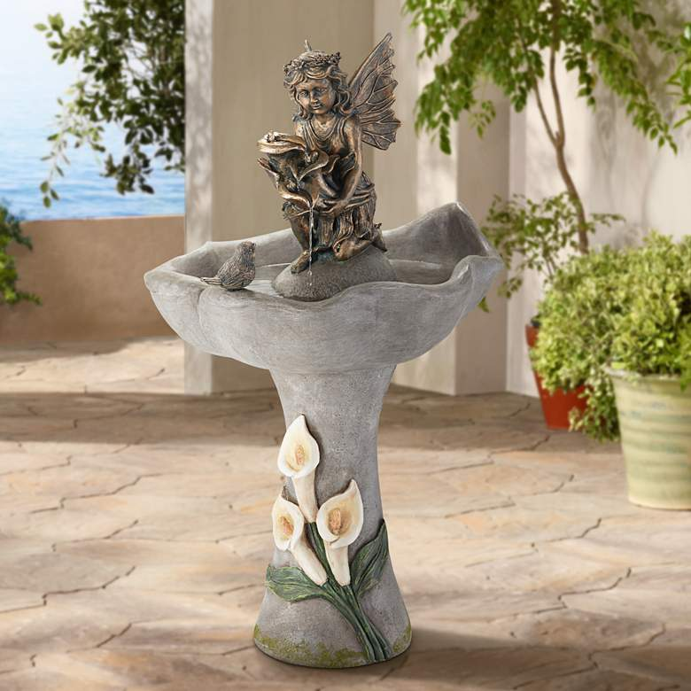"Garden Fairy 34"" High Stone Indoor-Outdoor Fountain"