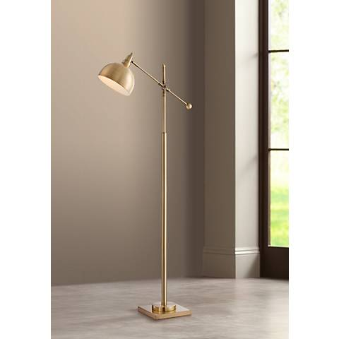 Cupola Brushed Brass Adjustable Downbridge Floor Lamp