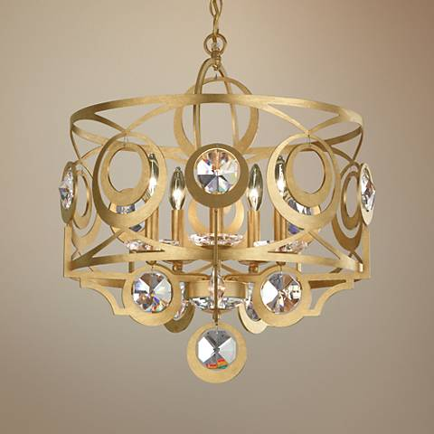 "Schonbek Gwynn 21""W Gold and Crystal 5-Light Chandelier"