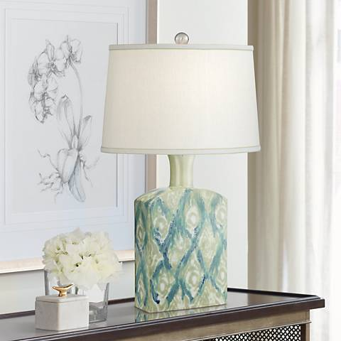 Possini Euro Sheila Green-Blue Diamonds Ceramic Table Lamp