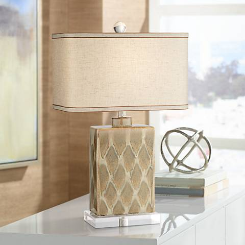 Possini Euro Coburg Diamond Pattern Ceramic Table Lamp