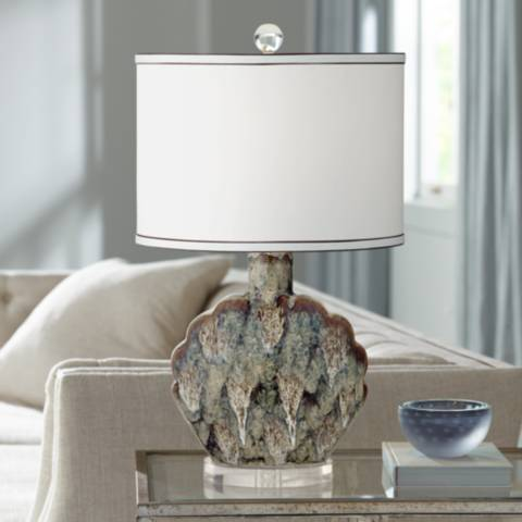 Possini Euro Ryan Seashell Ceramic Table Lamp 21m53 Lamps Plus