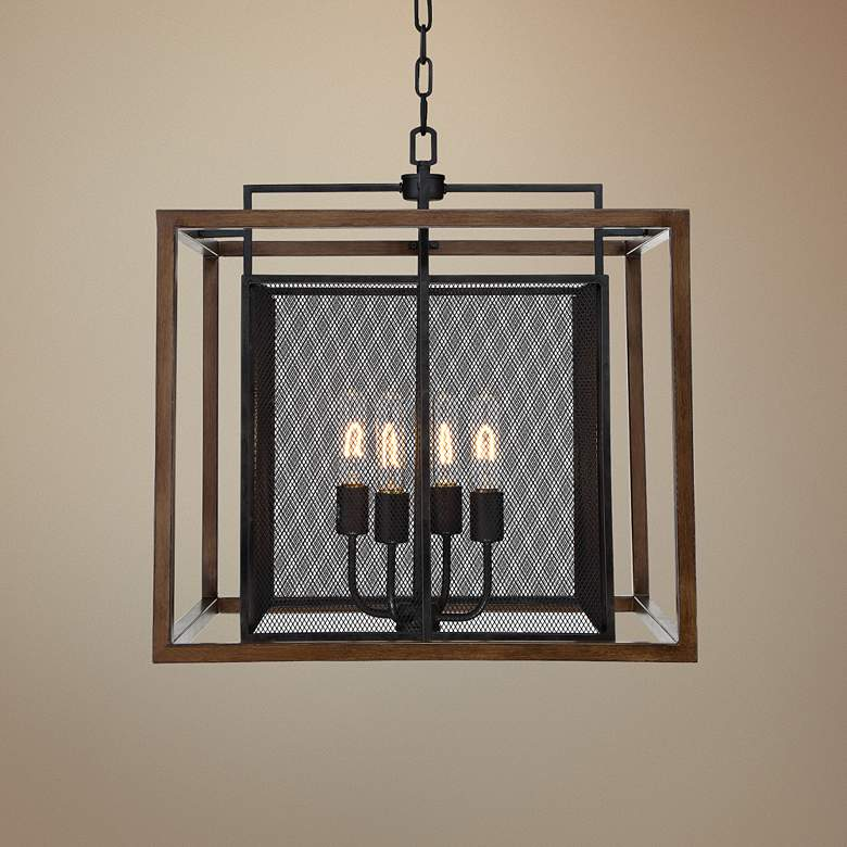 "Varaluz Rio Lobo 22""W Dark Oak with Black 4-Light Pendant"