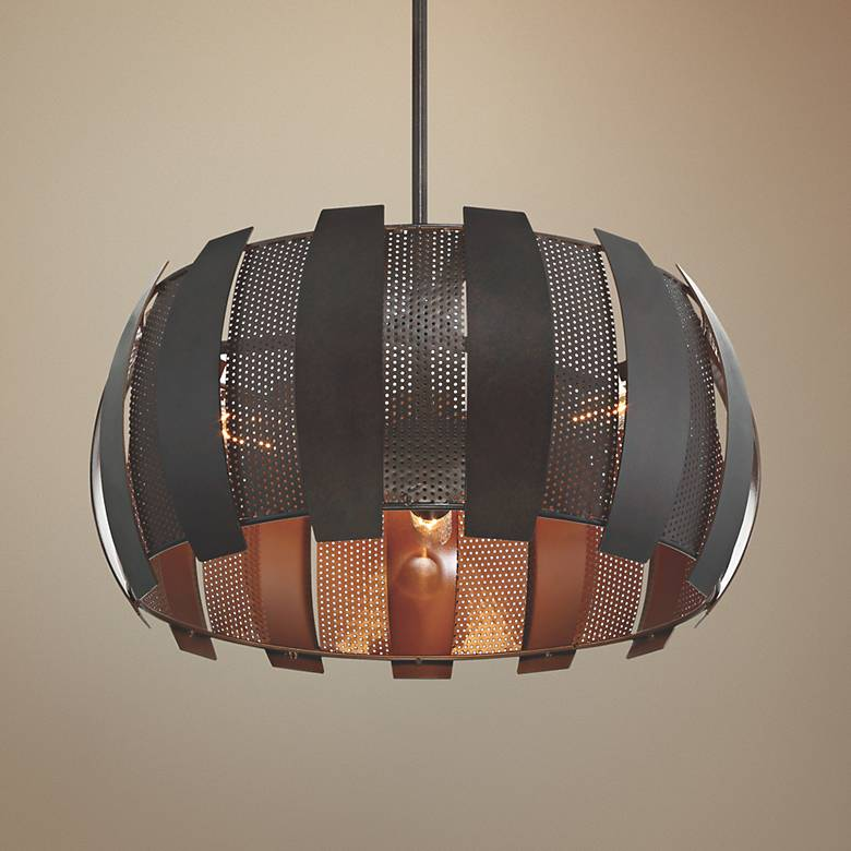 "Varaluz Sawyer's Bar 19""W Two-Tone Copper Ore Pendant Light"