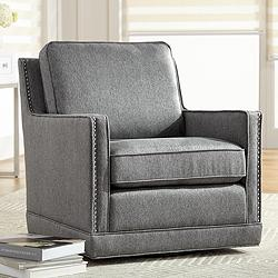 Clinton Mica Gray Linen Fabric Swivel Chair