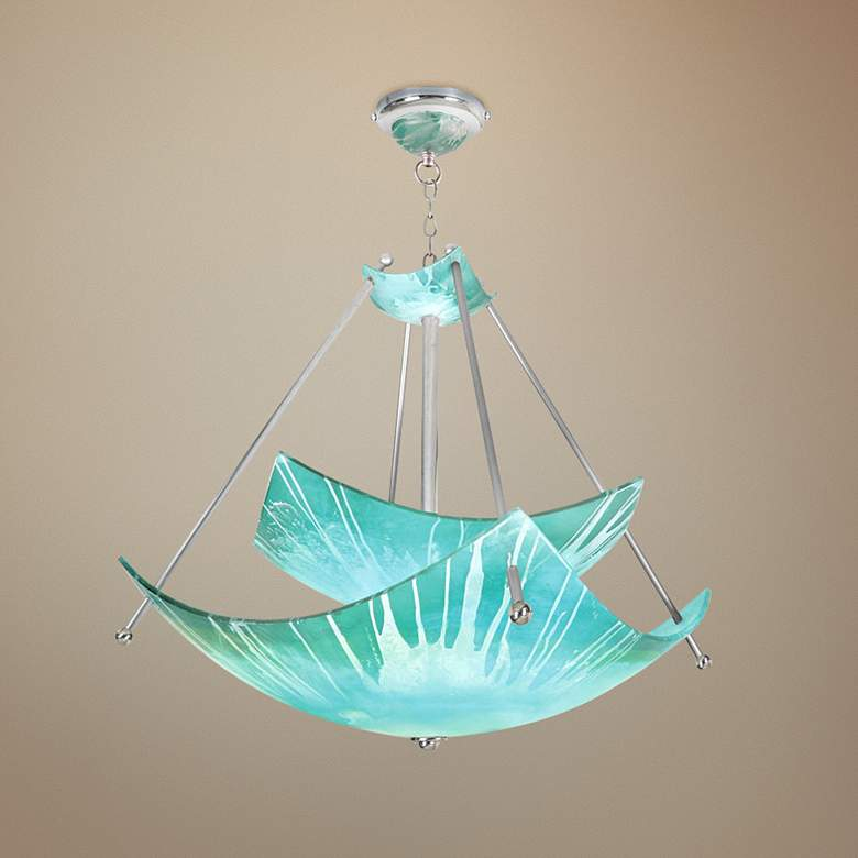 "Private Events 34"" Wide Blending Teal Episode Pendant Light"