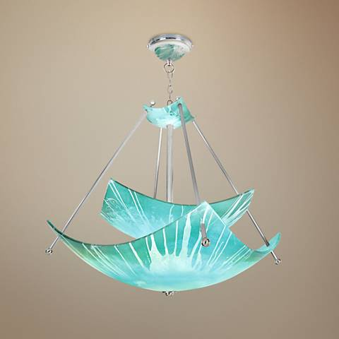 "Private Events 48"" Wide Blending Teal Episode Pendant Light"