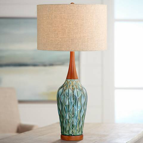 Rocco 30 High Mid Century Modern Blue Ceramic Table Lamp