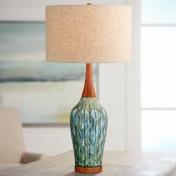 "Rocco 30"" High Mid-Century Modern Blue Ceramic Table Lamp"
