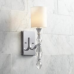 "Evi 16 1/2"" High Chrome and Crystal Wall Sconce"