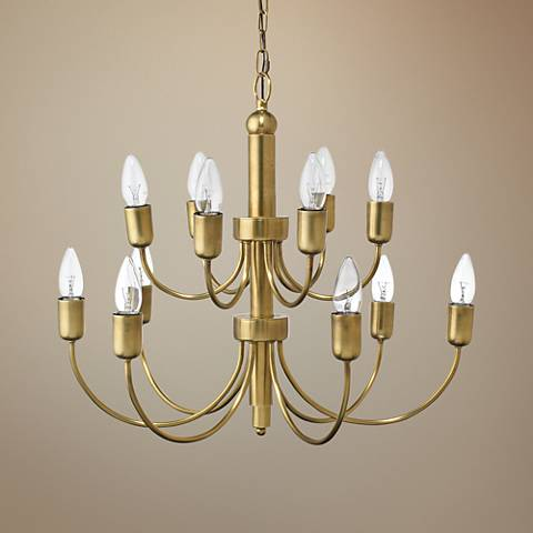 "Jamie Young Savoy 25""W Antique Brass 12-Light Chandelier"