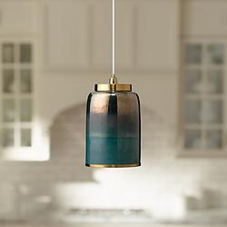 "Vapor 8 1/2"" Wide Aqua Metallic Glass Medium Mini Pendant"