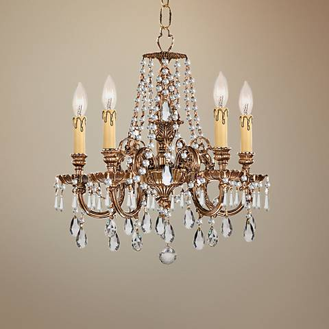 "Crystorama Novella 18"" Wide Olde Brass 5-Light Chandelier"