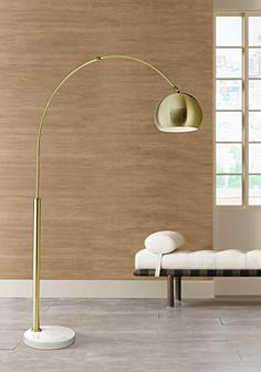Gold arc lamps floor lamps lamps plus basque arc floor lamp gold aloadofball Gallery