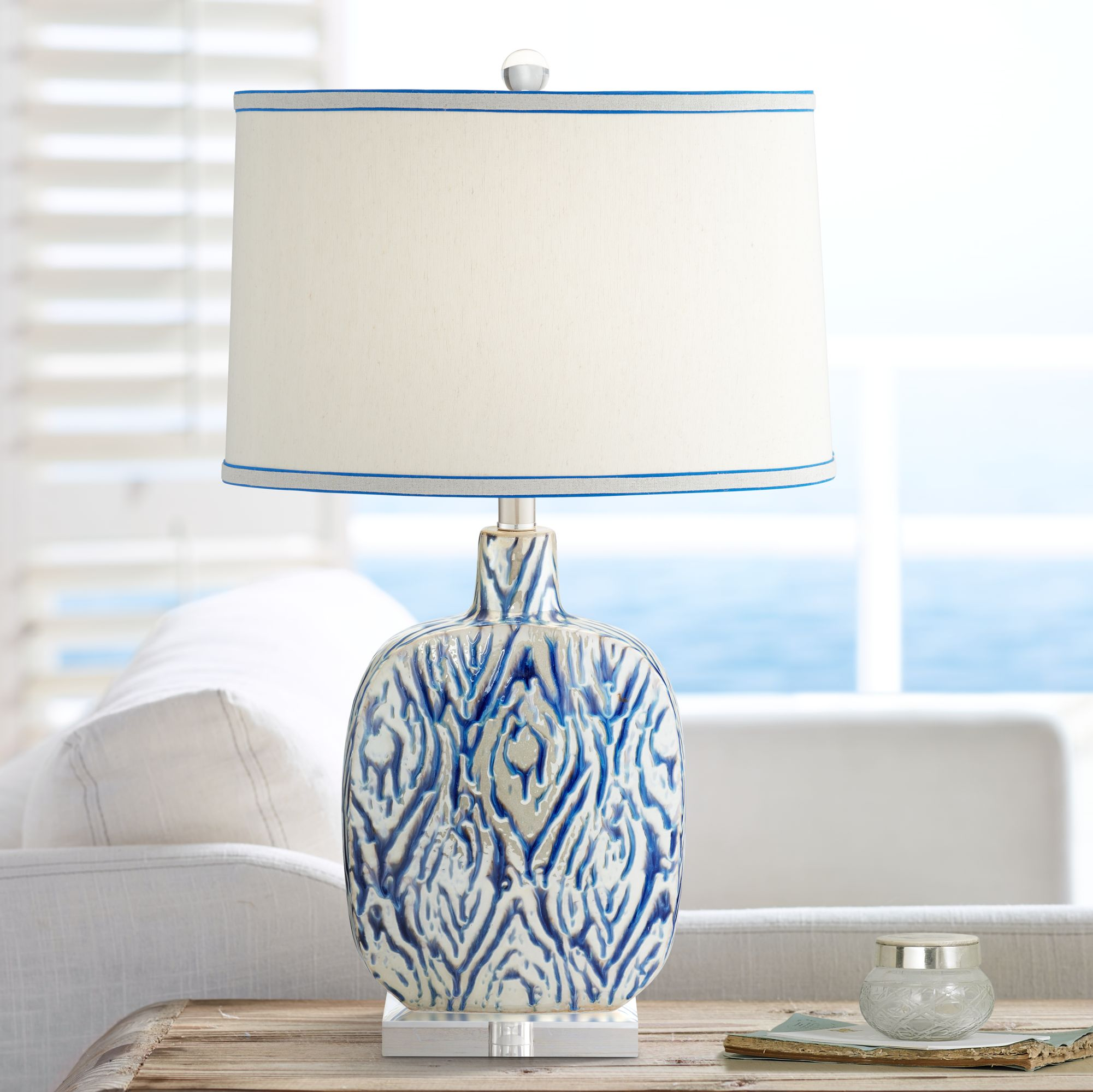 Possini Euro Patrick Blue And White Ceramic Table Lamp