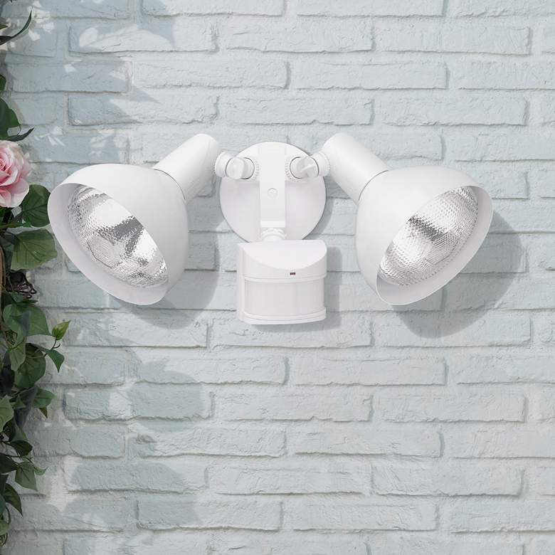 Two Light White Adjustable Outdoor Motion Sensor Lights