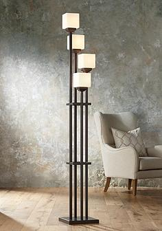 Light Tree Four Bronze Torchiere Floor Lamp