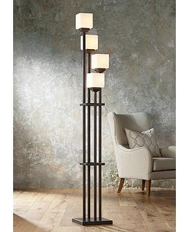 f7083e9f7f7e2 Light Tree Four Light Bronze Torchiere Floor Lamp