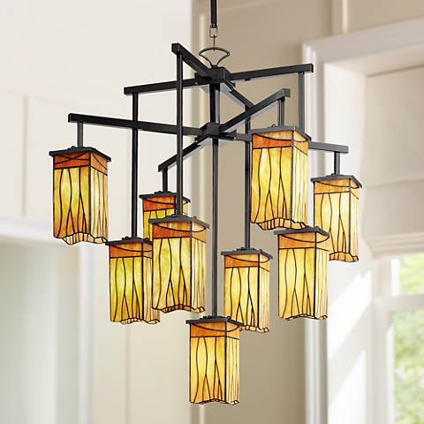 "Sedona Collection 32 1/2"" Wide 9-Light Art Glass Chandelier"