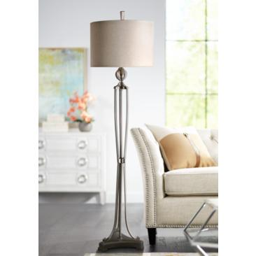 "Tristana 63"" High Brushed Nickel Floor Lamp by Uttermost"