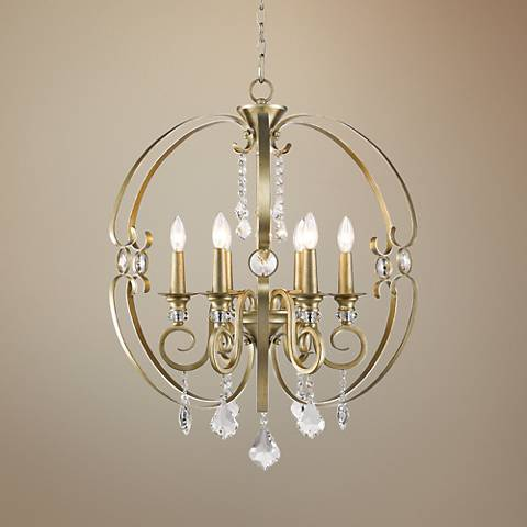 "Ella 26"" Wide White Gold 6-Light Chandelier"