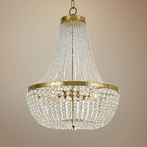 "Crystorama Rylee 18"" Wide Antique Gold Chandelier"
